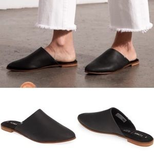 Toms Jutti Mule Leather Slip-On Shoes in Black